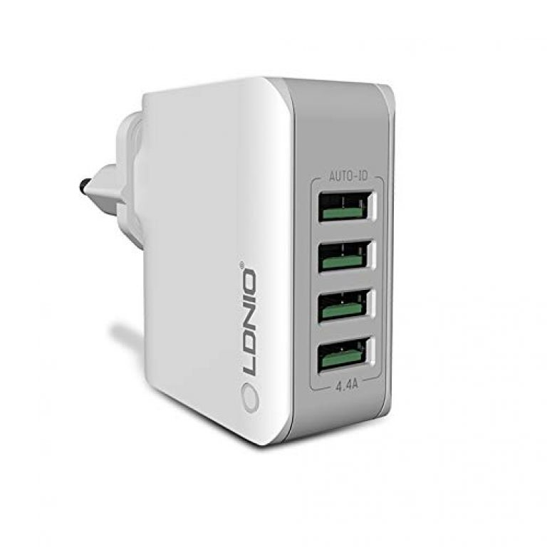 T TECLUSIVE Ldnio 4 USB Multi Ports Mobile Wall Charger || 4.4A Rapid Charge Mobile Travel Adapter || Exclusively by TECLUSIVE