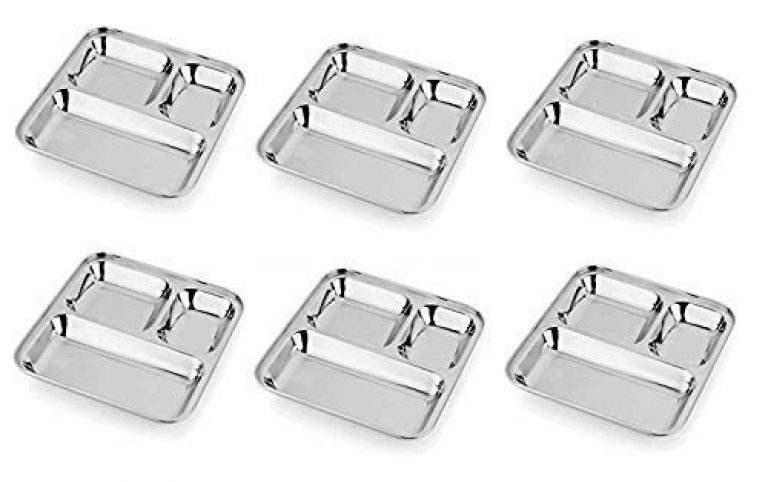 TAPKIRE Enterprises Stainless Steel 3 in 1 Pav Bhaji Dinner Plate Three Compartment Dinner Plate Set of 6 Pieces,Silver