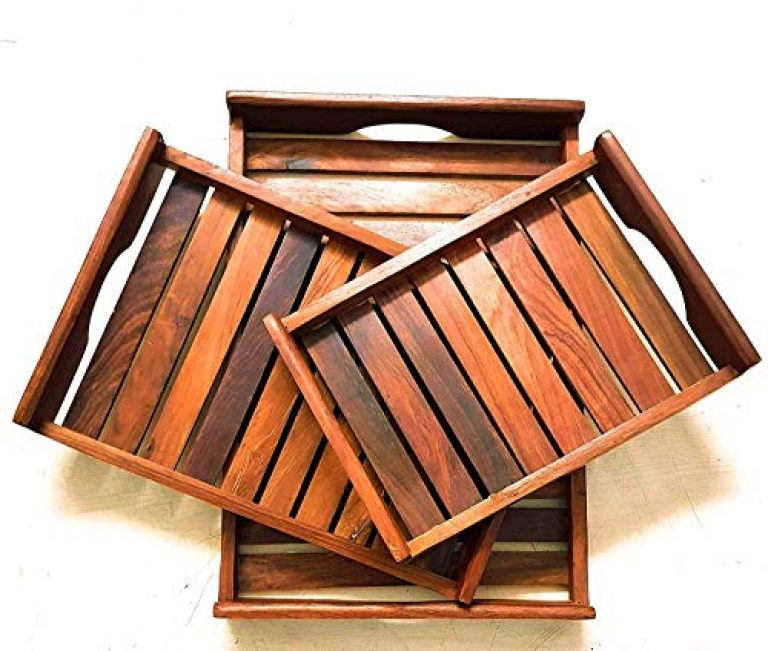 TIC Wooden Sheesham Serving Tray for Breakfast, Tea Serving, Table Décor, Standard, 3 Sets of Brown Shade