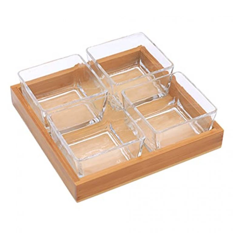 TOPBATHY Glass Divided Fruit Trays Dry Fruit Plate Appetizer Serving Tray Divided Candy Box Wooden Serving Platter Candy Dish Dessert Snacks Nut Tray