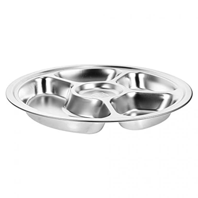 TOPBATHY Stainless Steel Round Divided Dinner Tray 5 Sections Dinner Plates Tray for Adults Kids Diet Food Control Camping Dishes Silver