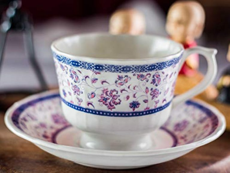 The Mug Factory Fine Bone China Tea Cup Saucer Set, White