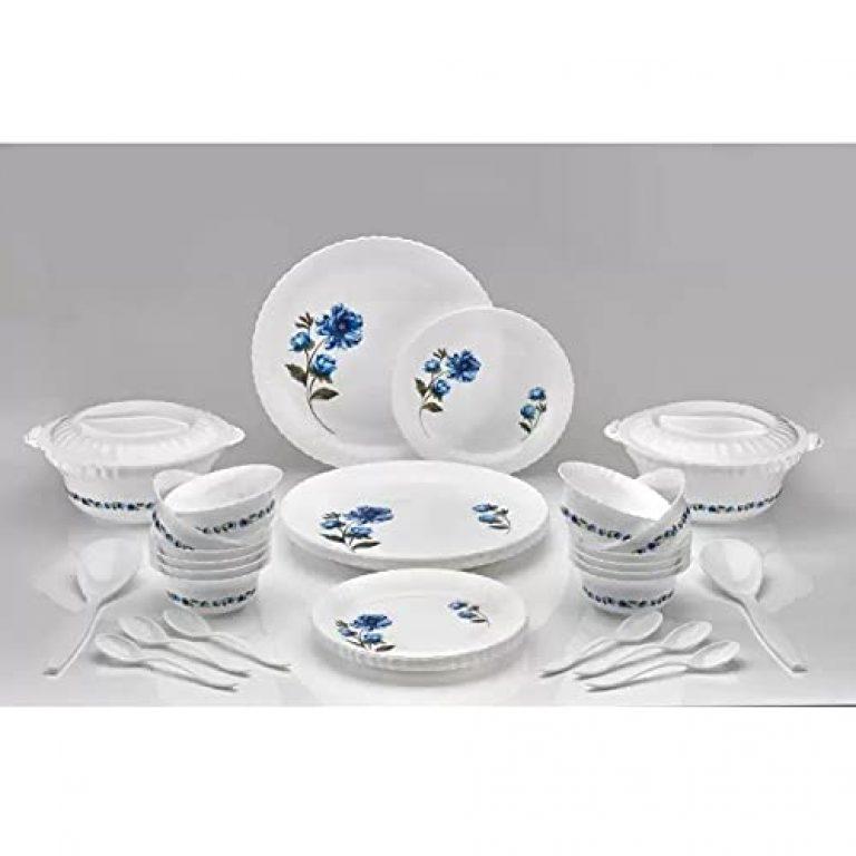 Topex Plastic Printed Round Flourish Dinner Set of 36 Pieces- (Blue) Dinner Set for Kitchen