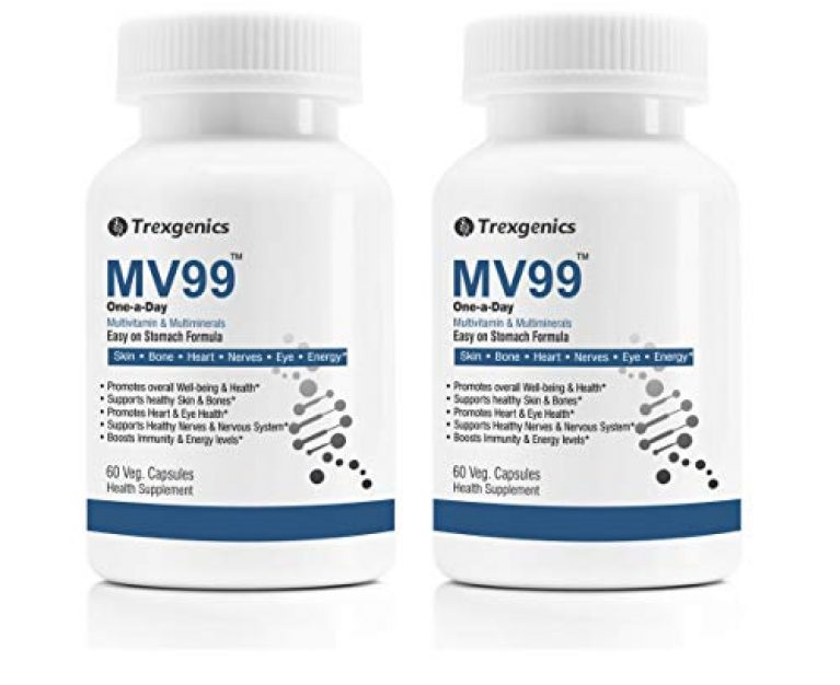 Trexgenics MV99 Multivitamin One-a-day Easy On Stomach – Complete Daily All you need with Multiminerals & Micronutrients for Men & Women (60 Veg. Capsules) (Pack of 2)