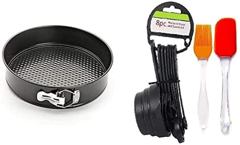 Triple j Teflon Round Carbon Steel Cheese Cake Mould, Cooker with Removable Base, Non-Stick Cake Tins/Pan/Trays , with Measuring Cup & Spoon Set of 8 with Brush Spatula Black – (22 cm )