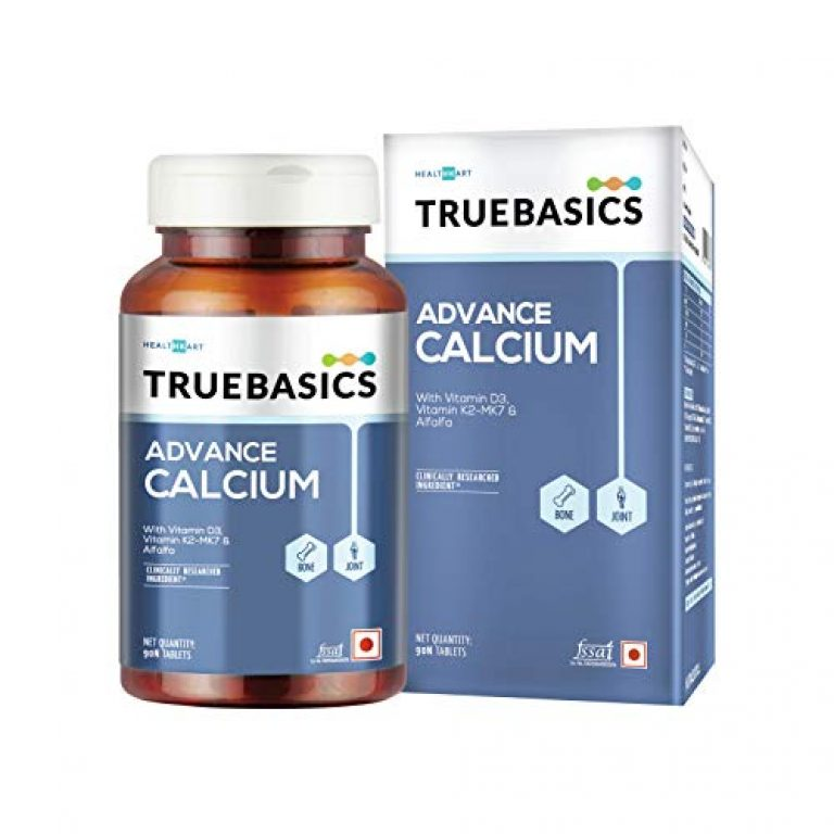 TrueBasics Advance Calcium Supplements For Women and Men, with Vitamin D3, Vitamin K2-MK7, Magnesium, Zinc, Alfalfa, Clinically Researched Ingredients, 90 Calcium Tablets