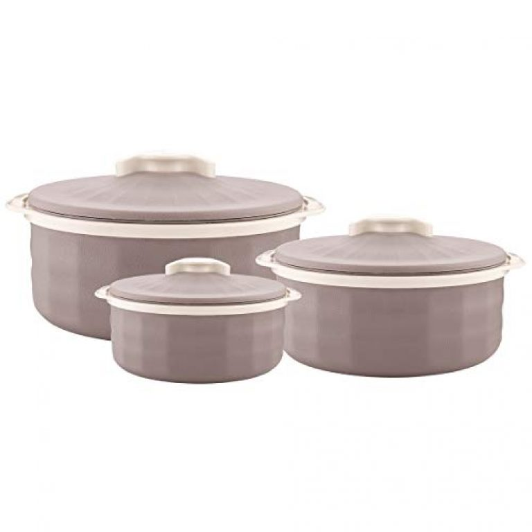 Trueware Regal Serving Casserole Set of 3 (1000+1500+2000 ml), Brown Inner Stainless Steel