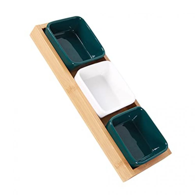 UPKOCH 1 Set Candy Snack Serving Tray Ceramic Compartment Divided Bowls with Wood Serving Platter for Food Snacks Condiments Appetizers Nuts