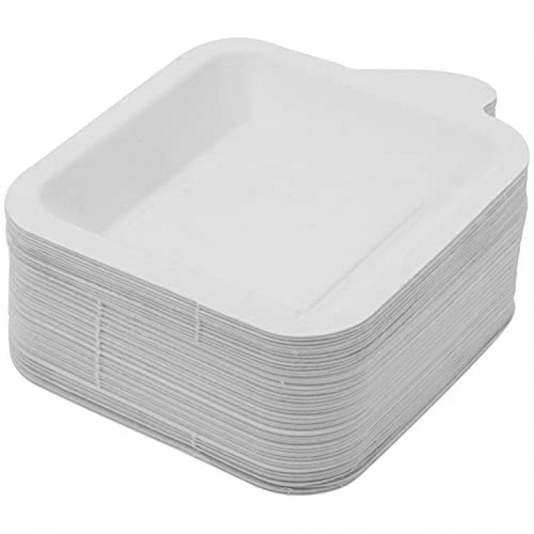 UPKOCH 50pcs Biodegradable Disposable Bagasse Paper Plates Friendly Paper Dish Appetizer Dessert Plates Style 2