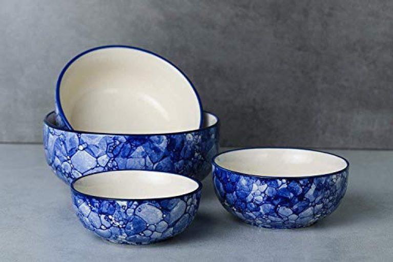 Unique SS Ceramic Classic Mixing Bowls (Set of 4, Blue)