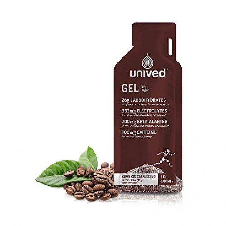 Unived RRUNN Endurance Energy Gel, Vegan Sports Gel, Espresso Cappuccino with Caffeine (100mg), Runners & Endurance Athletes, Pack of 6 (Each 39g)