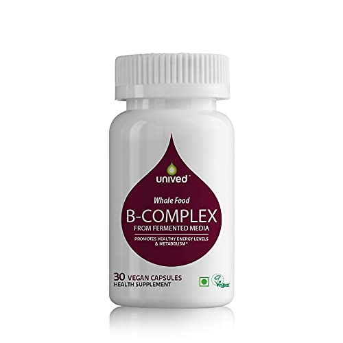 Unived Wholefood Natural B-Complex | Raw B-Vitamins from Ferment Media | 100% Natural & Vegan | One Month Supply