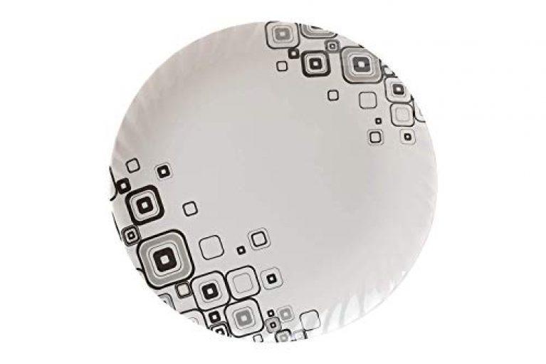 Urmila Plastic® Unbreakable Lightweighted Melamine Round Full Size (11 Inch) Dinner/Lunch Plates (6, White-Black)