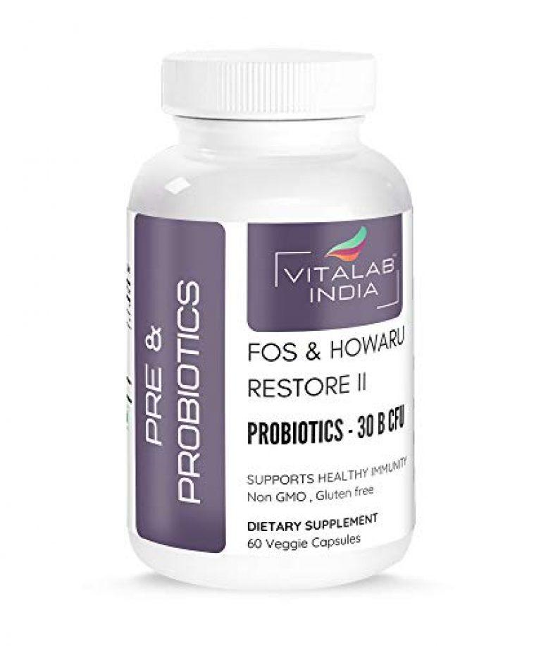 VITALAB Pre and Probiotics for Gut Health & Immunity, Contains Howaru Restore II Probiotic Blend of 30 Billion cfu & 80 mg of FOS Prebiotics – 60 Veg Capsules