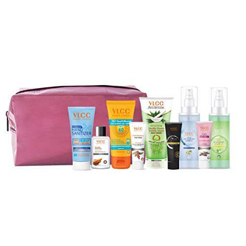 VLCC Nourish & Shine Kit with Pouch (Assorted Color) | skin Care, Hair Care, hygiene Essentials Combo for women | beauty combo set for women | VLCC beauty gift set | beauty Sets | skin care combo