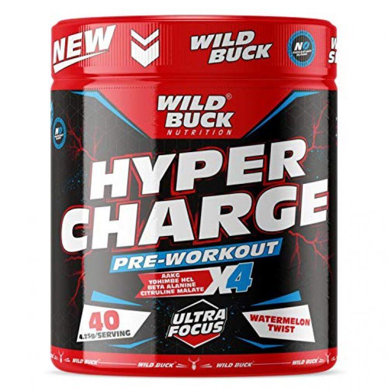 WILD BUCK Hyper Charge Pre-X4 Hardcore Pre-Workout Supplement with Creatine Monohydrate, Arginine AAKG, Beta-Alanine, Explosive Muscle Pump, Caffeinated -For Men & Women [40 Serv, Watermelon Twist]