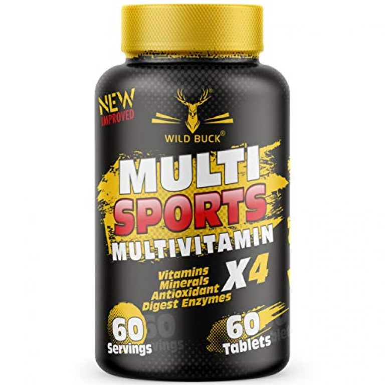 WILD BUCK Multi Sports Multivitamin X4 with Vitamins, Minerals, Antioxidants, Digestive Enzymes | Daily Supplement for Men & Women Energy, Brain, Heart, Eyes, Immunity, Digestion, Focus | – 60 Tablets