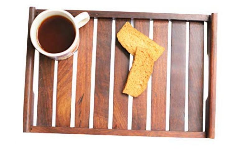 WOOD ART STORE Wooden Brown Serving Tray|Coffee Table Tray | Decorator Tray | Service Tray | Wooden Tray | Candle Tray Size- 12x8x1.75 inches
