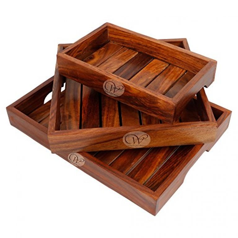 WOOD ART STORE Wooden Tray for Breakfast Coffee Butter Serving Table Decor, Gifts, Standard, Brown- Set of 3