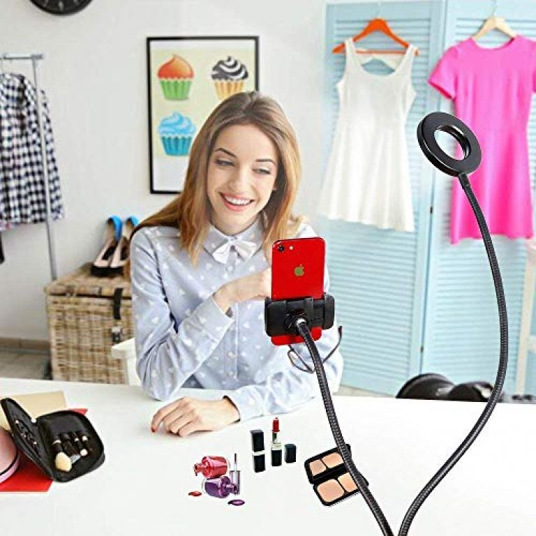 Way2tech Selfie Ring Light with Phone Holder |Flexible Arm Desk Mount Clamp for Live Stream, Makeup, Online Meetings, Recording, Photography, USB Reading Light | 3 Color 10 Brightness Level