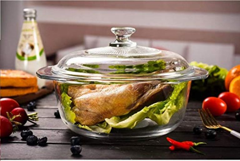 Wellxo Glass Casserole Round Oven and Microwave Safe Serving Bowl with Glass Lid Pack of (1) [1 LTR]