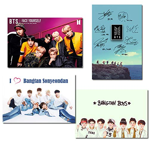 Windup BTS K-Pop Fan Army Art Fridge Magnetic Posters – Set of 4 – Size A5 (6×9 in) – Multi Color