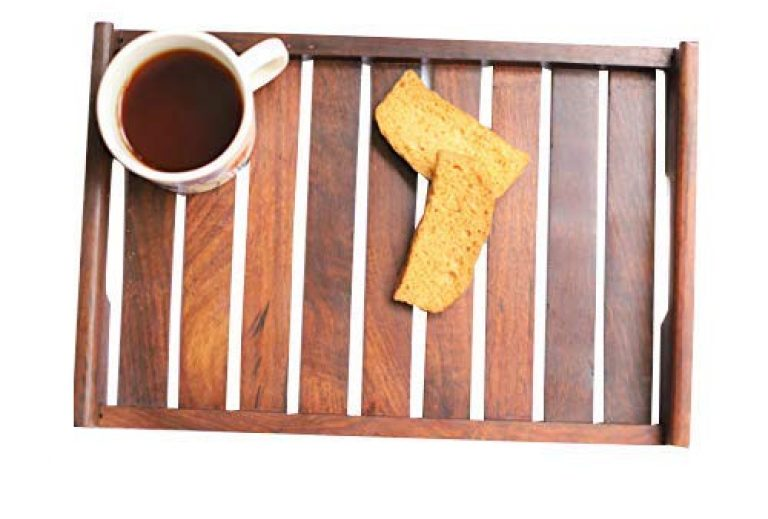 Wood Art Store Rosewood Sheesham Wood Handmade & Handcrafted Wooden Serving Tray for Dining Tableware, Breakfast Coffee Table Tray,Butler Serving Tray (12x8x2 inches)
