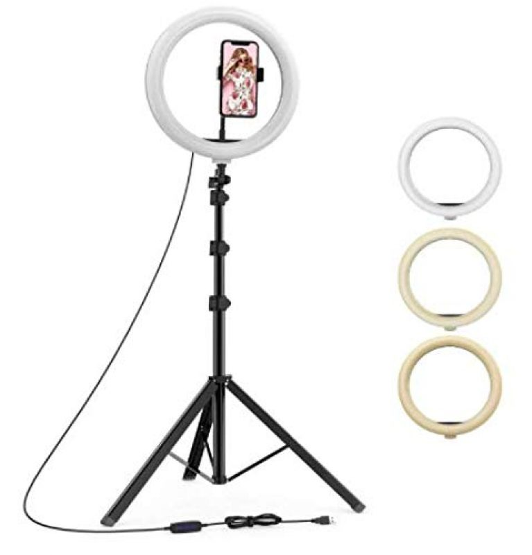 YOZTI 7 Feet Long Tripod Stand (84 Inch) with 10″ LED Ring Light Combo for Tiktok MX Taka tak Instagram Reels YouTube vlogging Vigo Video Shooting and Recording with Mobile Phone Camera Clip Setup