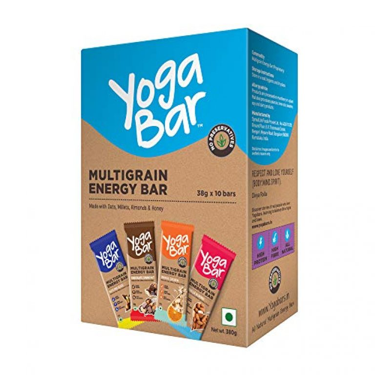 Yogabar Multigrain Energy Bars 380Gm Pack (38G x10) – Healthy Diet with Fruits, Nuts, Oats and Millets, Gluten Free Snack Bars and High Protein Crunchy Granola Bars, Packed with Chia and Sunflower Seeds (10 Bars)