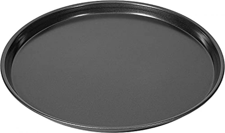 Yorten Round Pizza Pan Non-Stick Baking Tray Plate Pizza Tray Pizza Baking Tool for Microwave Oven Baking Tray Round Teflon Coated Carbon Steel (Black)(25 cm)