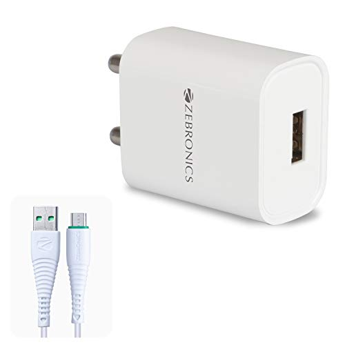 ZEBRONICS Zeb-MA5211 USB Charger Adapter with 1 Metre Micro USB Cable, Fast Charge, for Mobile Phone/Tablets (White)