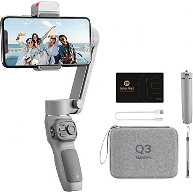 Zhiyun Smooth Q3 Combo, 3-Axis Gimbal Stabilizer for Smartphone Foldable Phone Gimbal with Light Auto Inception Dolly-Zoom Time-Lapse Handheld Stabilizer with Gimbal Bag