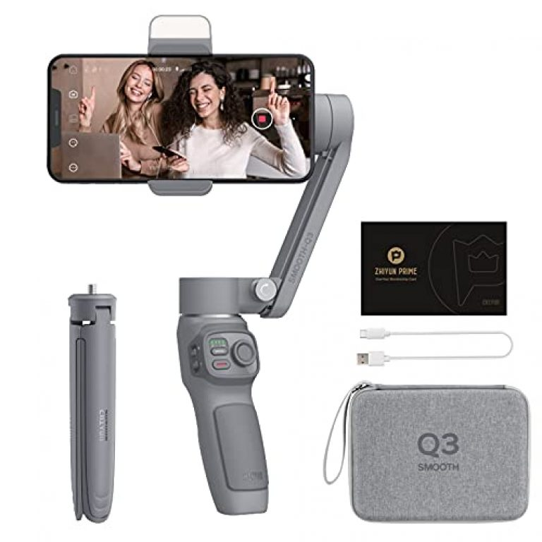 Zhiyun Smooth Q3 Combo, 3 Axis Handheld Smartphone Gimbal iPhone Stabilizer for iPhone 12 11 Pro Xs Max Xr X 8 Plus 7 6 SE Android Cell Phone Smartphone YouTube Vlog Live Video Kit