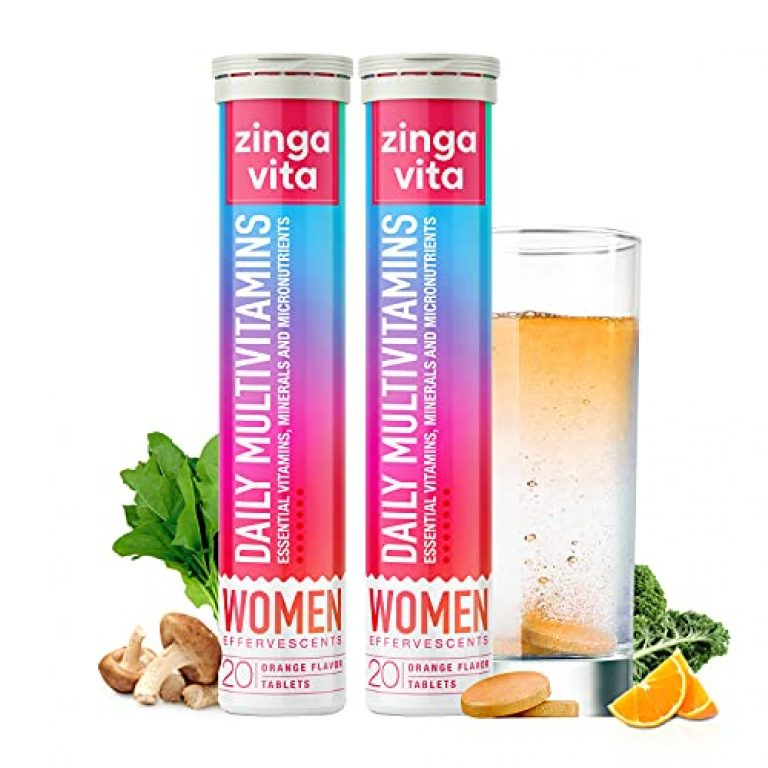 Zingavita Women Daily Multivitamins Effervescent Tablets (40 Fizz Tab) with 21 Essential Vitamins & Minerals for Improved Energy, Daily Health & Immunity, No Added Sugar, Orange Flavour, 1 Daily