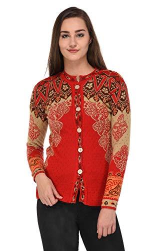 eWools Women's Wool V Neck Cardigan