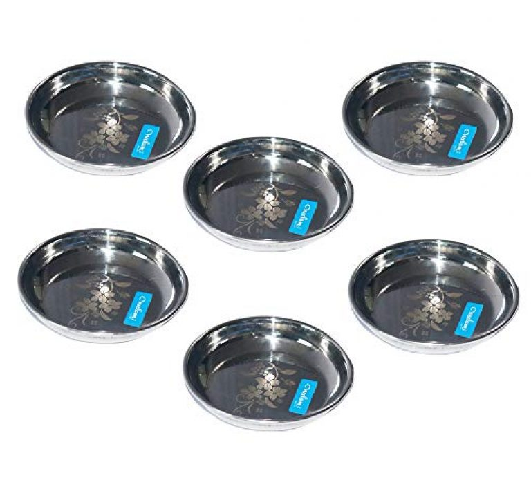 neelam Stainless Steel Lazer Halwa Plate – Set of 6, Silver