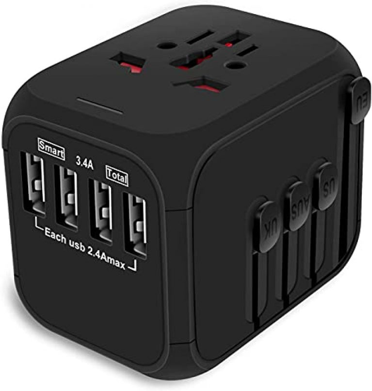 rts Universal Travel Adapter, International All in One Worldwide Travel Adapter and fast charging Wall Charger with 4 USB Ports 2.4A USB (Black)